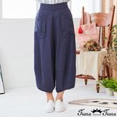 【Tiara Tiara】百貨同步新品ss 下擺拼接純色寬版七分褲(藍/灰)