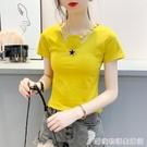 夏裝新款設計感心機v領緊身bm上衣服修身...