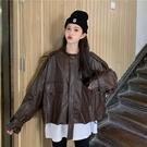 快速出貨 外套皮衣外套女秋冬新款洋氣復古時尚休閒氣質英倫風機車皮夾克短