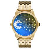 DIESEL 航行者二地時間個性時尚腕錶-黑面金x鍍膜鏡面