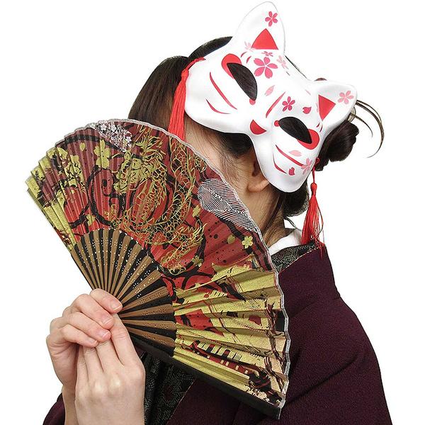 日本 貓面 面具 和風小物 擺飾 道具 鬼滅之刃