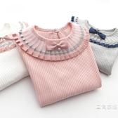 女童T恤童裝夏季裝裝百褶花邊螺紋上衣兒童純色女寶寶長袖打底衫