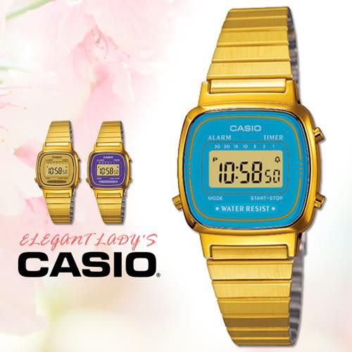 CASIO手錶專賣店 卡西歐 LA670WGA-2D F 女錶 電子錶 壓克力玻璃 鬧鈴 不鏽鋼錶帶 可調式錶帶扣