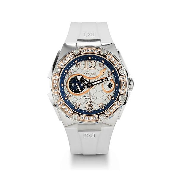 【NSQUARE】SNAKE QUEEN系列施華晶鑽時尚機械橡膠腕錶-雪夜白/L0472-N48.3/台灣總代理公司貨享兩年保固