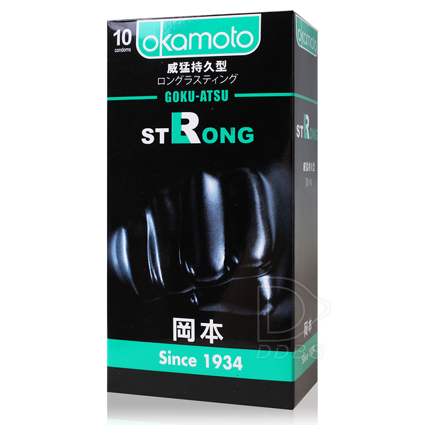 OKAMOTO岡本OK 威猛持久型 衛生套 10片裝 /時間型/厚度0.1mm/黑套子 超薄 保險套【DDBS】