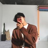 開衫外套針織衫男寬鬆大毛衣V領單排扣純色針織毛衣開衫外套男  夏季上新