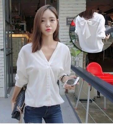 EASON SHOP(GU0167)兩種穿法新款百搭長袖韓版白色寬鬆寬鬆V領蝴蝶結白襯衫女 M-XL