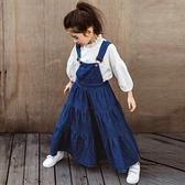 大裙擺牛仔背帶裙 (小孩賣場) 吊帶裙 大童 橘魔法 女童 童裝 現貨 親子裝 牛仔裙 長裙