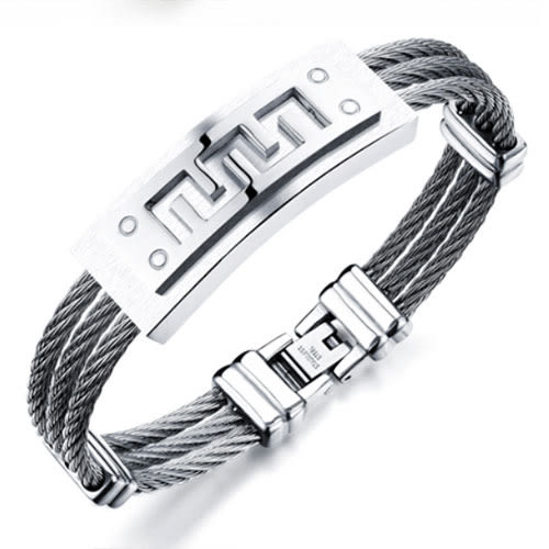 《QBOX 》FASHION 飾品【B100N784】精緻個性盾面幾何圖形鋼絲316L鈦鋼手鍊/手環(金/銀)