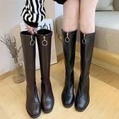 秋冬季長靴女瘦瘦靴2021新款長筒靴粗跟低跟過膝長靴女皮靴子女 8號店