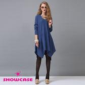 【SHOWCASE】針織不規格傘狀長版上衣(藍)-早秋精選外套