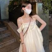一字領洋裝 一字肩洋裝女夏季法式氣質長款初戀吊帶裙子設計感小眾外穿【快速出貨】