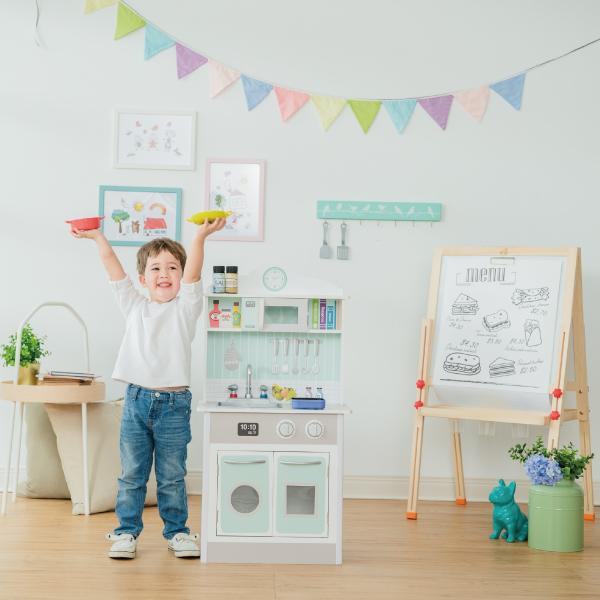 Teamson 蜜糖甜心玩具廚房-綠色+DYSON仿真手持無線吸塵器
