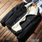 加絨加厚牛仔外套男冬季新款棉衣羊羔毛韓版男裝上衣寬鬆牛仔夾克-ifashion