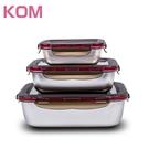 【KOM】日式不鏽鋼抗菌保鮮盒三件組-紫色