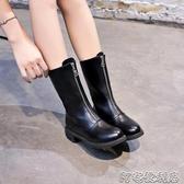 前拉鍊馬丁靴女秋季新款英倫風百搭中筒網紅瘦瘦平底黑色短靴(聖誕新品)