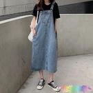 新款連衣裙夏天小清新學生減齡寬鬆顯瘦中長款牛仔背帶裙子女 快速出貨