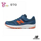 New Balance童鞋 男童運動鞋 570 魔鬼氈跑步鞋 輕量慢跑鞋 透氣運動鞋 耐磨底 大童 P8554#藍橘