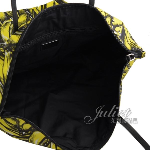 茱麗葉精品【全新現貨】PRADA 1BY300 普普風尼龍皮飾邊托特包兩件組.黃