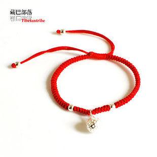 原創手工 中國紅 銀飾品本命年紅繩手鏈 百搭情侶