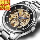 機械錶-自動鏤空歐式雕花精鋼男腕錶2款6...