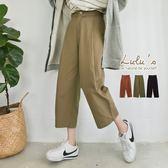 LULUS-Y低檔壓摺後鬆緊寬褲-3色  現+預【04051394】