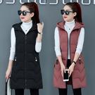 韓版新款女士棉背心中長款修身百搭連帽馬夾羽絨棉外套加大尺碼坎肩