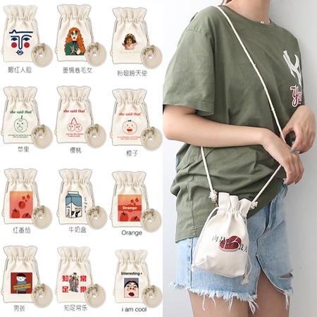 KUSO原創圖案斜背束口包/手機包/隨身包/水桶包/帆布包 17色【F929210】