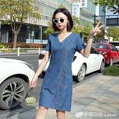 夏季新款中長款短袖牛仔洋裝女修身顯瘦大碼V領彈力牛仔A字裙薄
