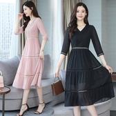 七分袖洋裝 夏季女裝時尚氣質七分袖收腰顯瘦雪紡裙子鏤空拼接連身裙-Ballet朵朵