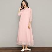 禪修服 中式棉麻茶服女夏復古禪意文藝禪修服裝中國風旗袍改良連身裙