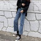 新款韓版牛仔褲女春夏寬鬆直筒復古水洗bf百搭毛邊九分褲學生褲子DSHY 雙12購物節必選