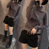 韓版新款半高領打底衫磨毛長袖女裝t恤純色秋冬百搭修身顯瘦上衣 moon衣櫥