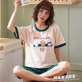 夏季新款純棉睡衣套裝女甜美短袖七分褲家居服兩件套5251