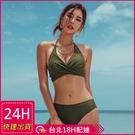 【現貨】梨卡- 性感Party[火辣+繞頸綁脖]S-XL大胸可穿溫泉比基尼二件式兩截式泳裝泳衣CR432