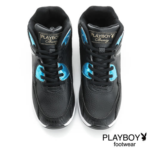 PLAYBOY 玩樂主義 閃亮皮料拼接氣墊休閒鞋-黑(女)