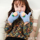 冬季手套3歲幼兒女童卡通可愛5歲小孩連指加絨保暖手套  海角七號