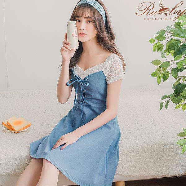 洋裝 花朵蕾絲交叉綁帶假兩件短袖洋裝-Ruby s 露比午茶