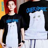 OUTER SPACE OS 中指貓翻轉T(黑)