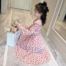 洋裝 女童長袖洋裝連衣裙新款韓版春裝裙子中大童兒童春秋洋氣波點長裙 快速出貨