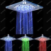 光療七彩花灑 七彩頂噴 led頂噴 8寸20cm玻璃方形發光頂噴淋浴頭 全銅電鍍 玩趣3C