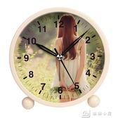 鬧鐘 簡約金屬鬧鐘創意靜音夜光可愛兒童女學生床頭鬧鐘臥室小鐘錶定制 娜娜小屋