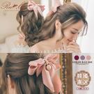 髮飾 韓國直送緞帶蝴蝶結垂墜珍珠彈簧髮夾...