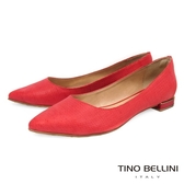 Tino Bellini 巴西 壓紋尖頭娃娃鞋_ 紅B73229 歐洲 款