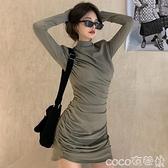 熱賣緊身洋裝 連身裙女秋冬黑色長袖緊身包臀短裙2021新款氣質顯瘦內搭打底裙子 coco