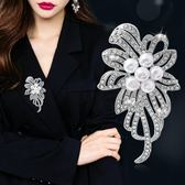 胸針 胸花女開衫毛衣外套胸針西裝大別針韓國鑲鉆花朵配飾