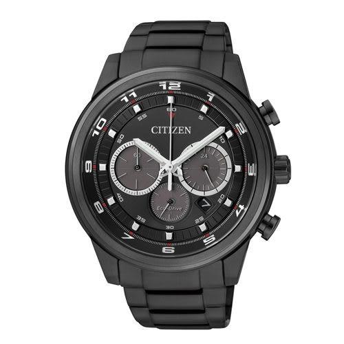 CITIZEN 紳士風格光動能三眼計時腕錶 CA4035-57E