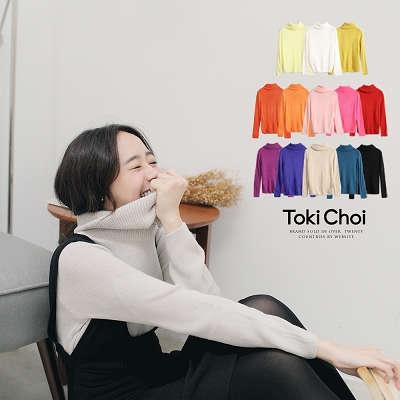 東京著衣-多彩鬆糕領素面針織毛衣(0009127)