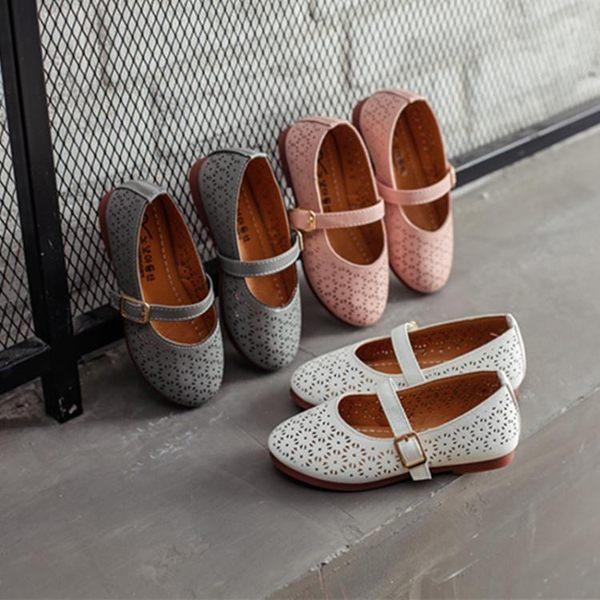 女童公主鞋鏤空皮鞋夏季新款包頭涼鞋包跟透氣半涼鞋中小童豆豆鞋『潮流世家』