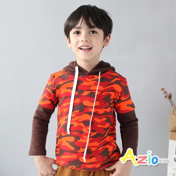 《美國派 童裝》上衣 不倒絨迷彩配色袖假兩件連帽上衣(橘)